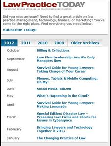 Click here to be brought to the July 2012 Issues of Law Practice Today